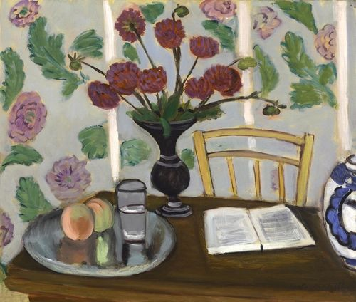 Matisse_StillLifeBouquetDahliasandWhiteBook_Baltimore1950_249